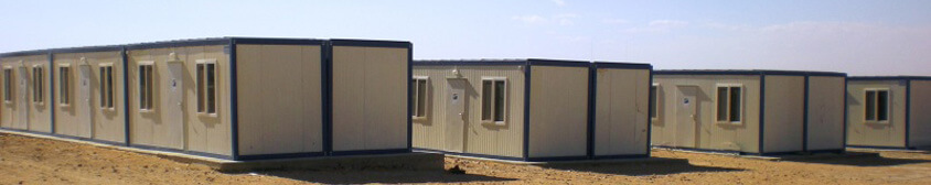 Alignement de bungalow de chantier pour base vie