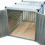 Container de stockage en kit avec double porte ouverte